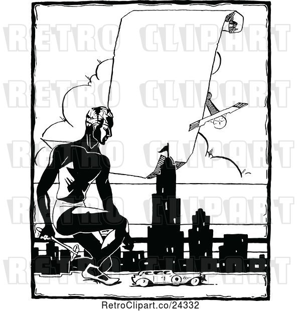 Vector Clip Art of Retro Guy with a City and Sign