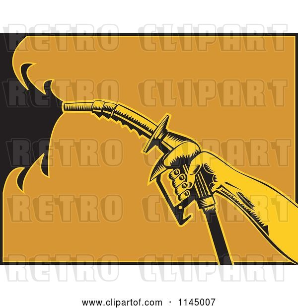 Vector Clip Art of Retro Hand Spraying Gasoline with a Nozzle