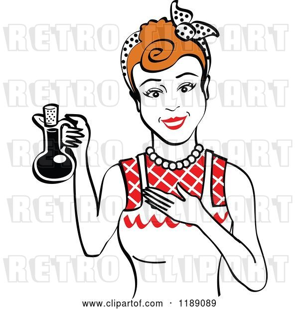 Vector Clip Art of Retro Happy Redhead Lady in an Apron, Holding up a Bottle of Cooking Oil 2