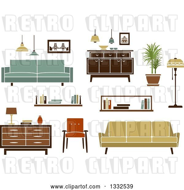 Vector Clip Art of Retro Household Furniture 4