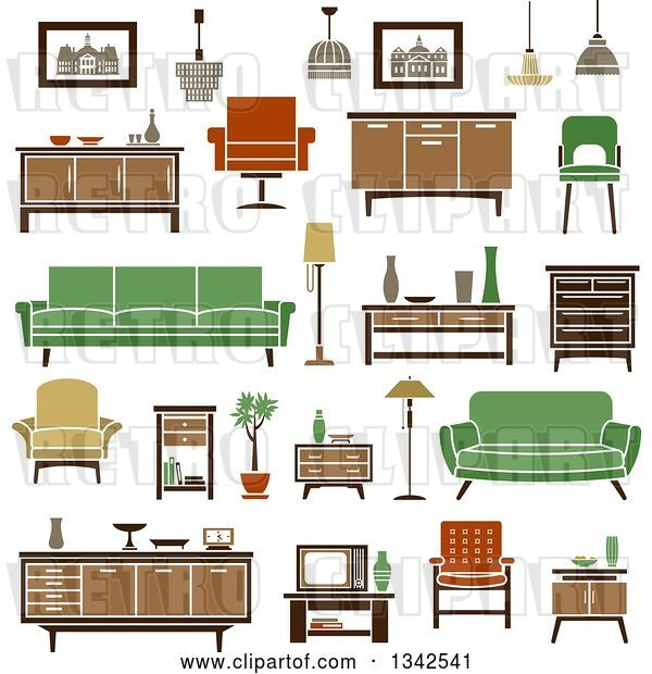 Vector Clip Art of Retro Household Furniture 8