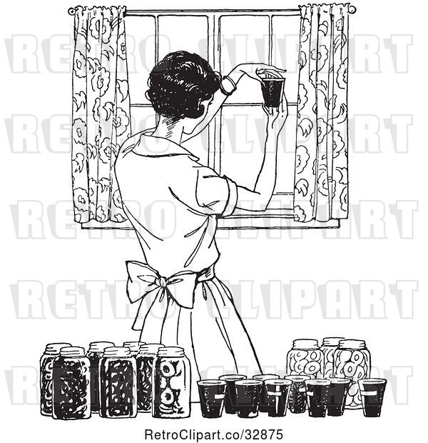 Vector Clip Art of Retro Housewife Canning Foods