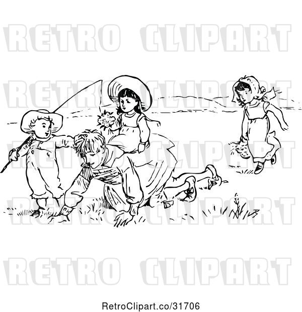 Vector Clip Art of Retro KChildren Playing in a Meadow