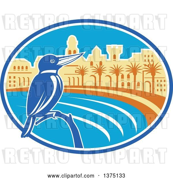 Vector Clip Art of Retro Kingfisher Bird Perched Against a Mediterranean Coastal City in an Oval