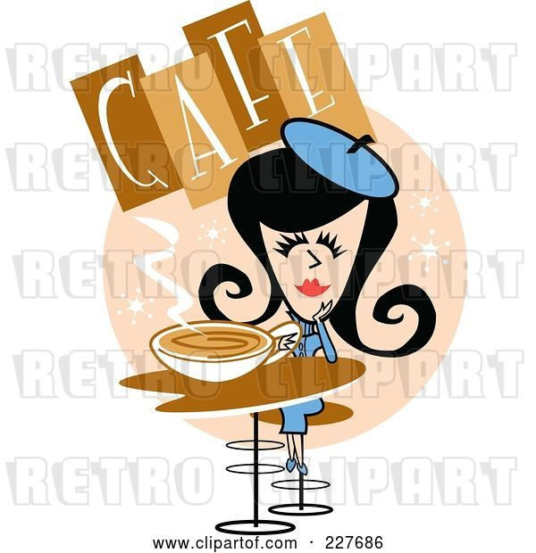 Vector Clip Art of Retro Lady Drinking Coffee in a Cafe