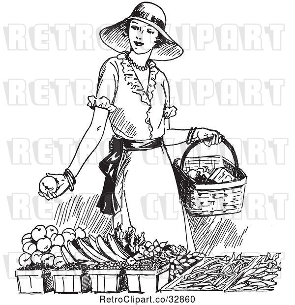 Vector Clip Art of Retro Lady Shopping for Produce