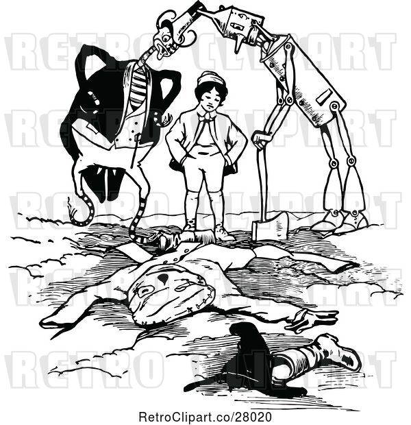 Vector Clip Art of Retro Land of Oz Characters Burying Jack