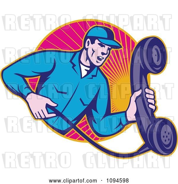 Vector Clip Art of Retro Landline Repair Guy Holding a Phone over Rays