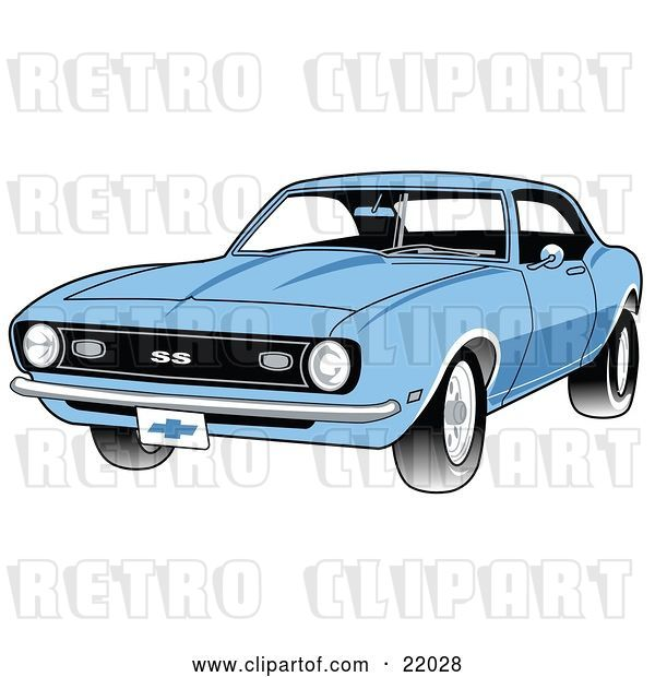 Vector Clip Art of Retro Light Blue 1968 Chevrolet SS Camaro Muscle Car with a Chrome Bumper
