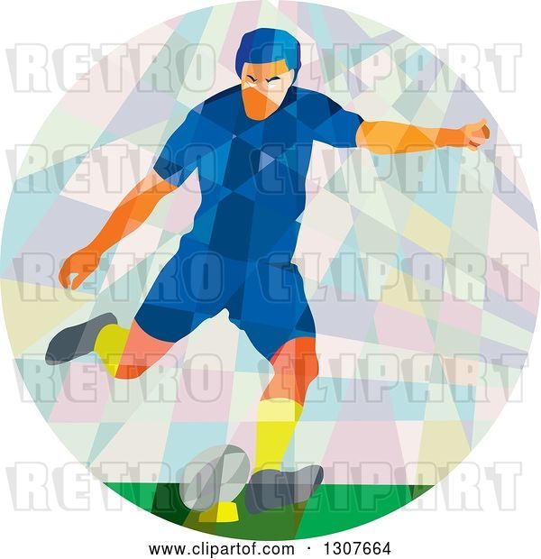 Vector Clip Art of Retro Low Poly White Male Rugby Player Kicking in a Circle