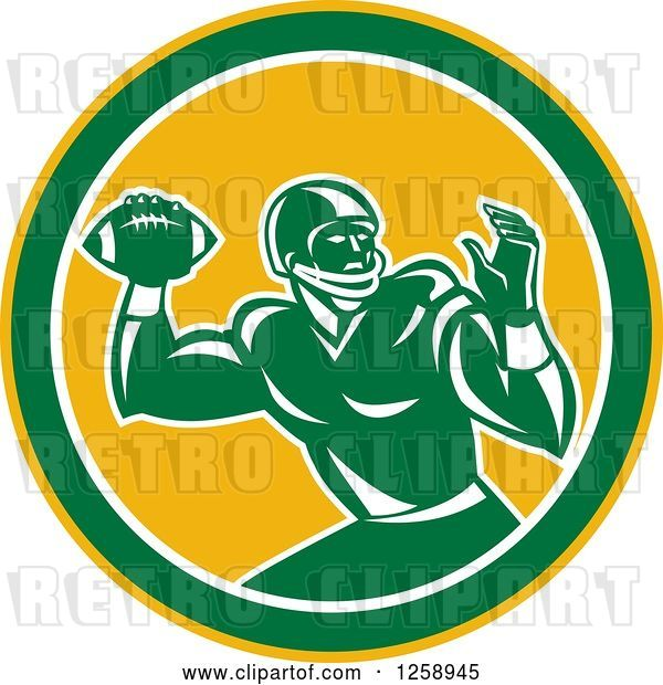 Vector Clip Art of Retro Male American Football Player Throwing in a Yellow White and Green Circle