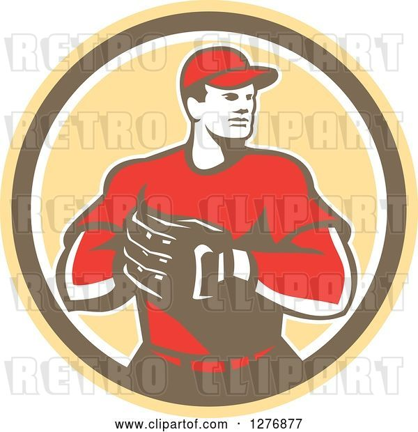 Vector Clip Art of Retro Male Baseball Catcher with His Hand in His Glove in a Yellow Brown and White Circle
