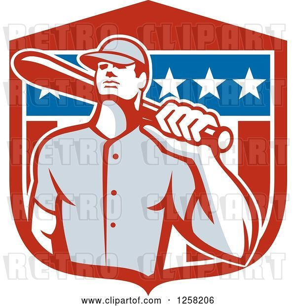 Vector Clip Art of Retro Male Baseball Player with a Bat over an American Flag Shield