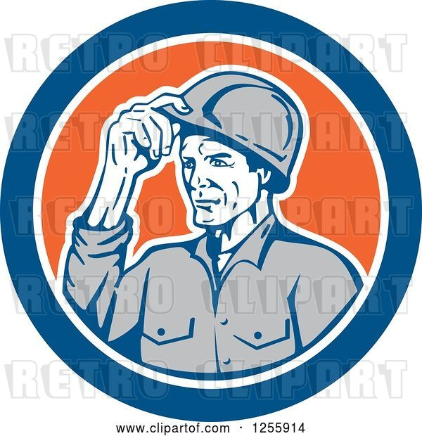 Vector Clip Art of Retro Male Builder Tipping His Hardhat in a Blue and Orange Circle