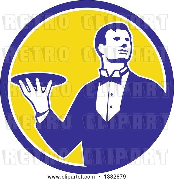 Vector Clip Art of Retro Male Butler Holding a Plate Inside a Blue White and Yellow Circle