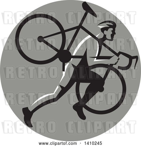 Vector Clip Art of Retro Male Cyclocross Athlete Running and Carrying Bicycle on His Shoulders in a Gray Circle