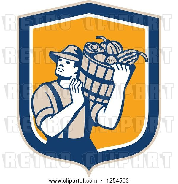 Vector Clip Art of Retro Male Farmer Carrying a Harvest Bushel Bucket in a Blue and Orange Shield
