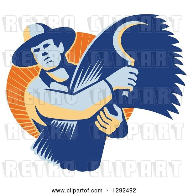 Vector Clip Art of Retro Male Farmer Holding a Scythe and Harvested Wheat in an Orange Circle of Sunshine