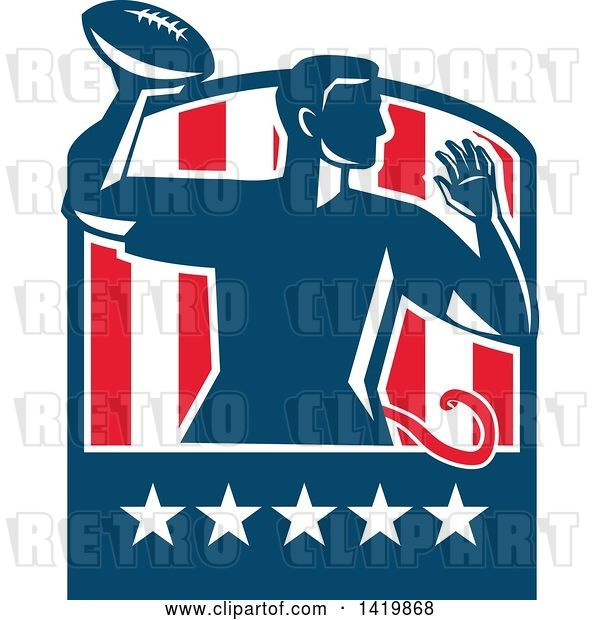 Vector Clip Art of Retro Male Flag Football Player Passing in a Flag Crest