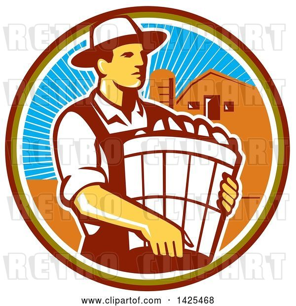 Vector Clip Art of Retro Male Organic Farmer Carrying a Bushel of Harvest Produce, in a Circle Against a Barn and Silo