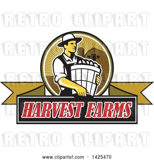 Vector Clip Art of Retro Male Organic Farmer Carrying a Bushel of Produce, in a Circle Against a Barn and Silo, over a Harvest Farms Ribbon Banner
