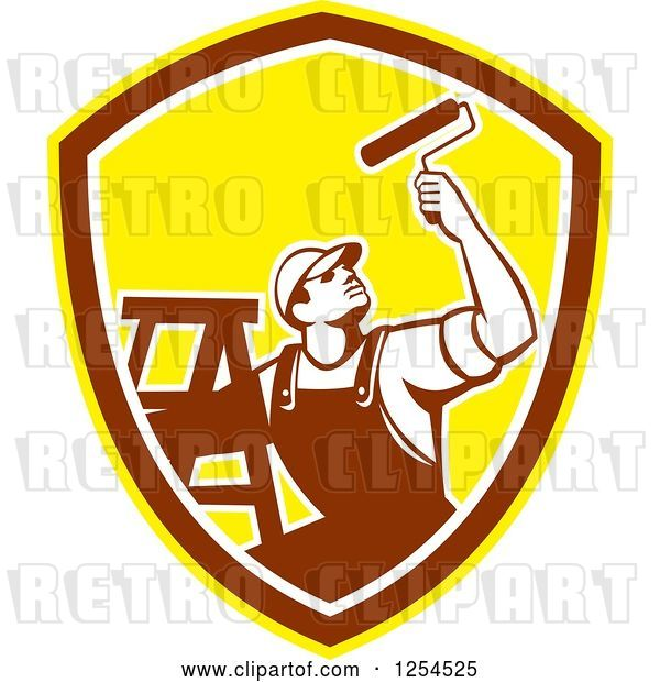 Vector Clip Art of Retro Male Painter with a Ladder and Roller Brush in a Brown and Yellow Shield