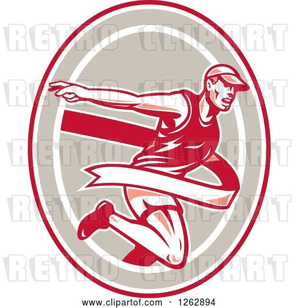 Vector Clip Art of Retro Male Runner Breaking Through a Finish Line in a Red Taupe and White Oval