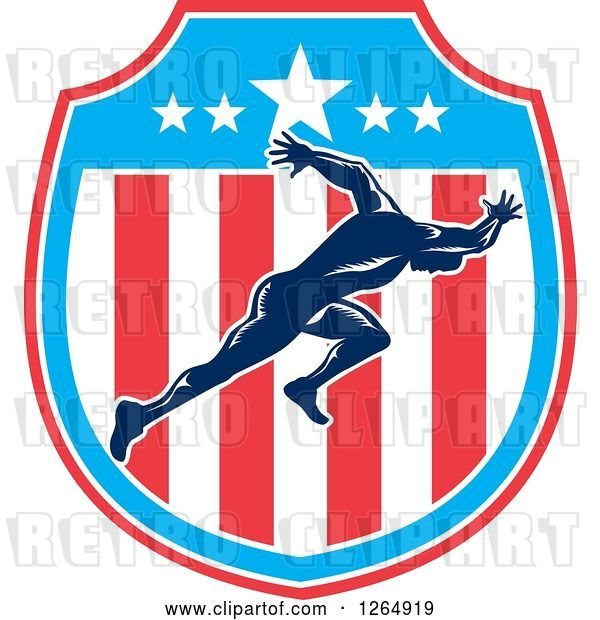Vector Clip Art of Retro Male Runner Sprinting in an American Flag Shield