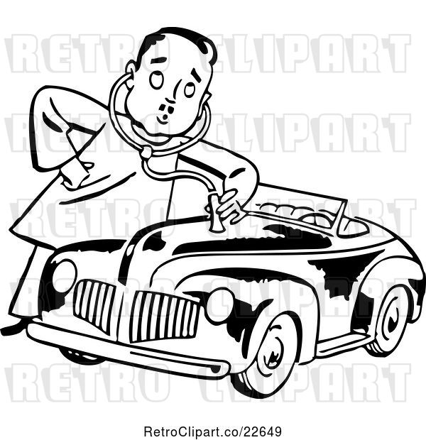 Vector Clip Art of Retro Mechanic Guy Giving a Car a Check up