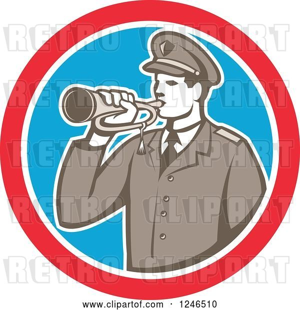 Vector Clip Art of Retro Military Soldier with a Bugle in a Circle