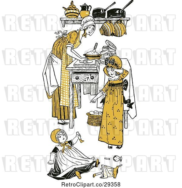 Vector Clip Art of Retro Mother and Daughters in a Kitchen in Yellow Tones
