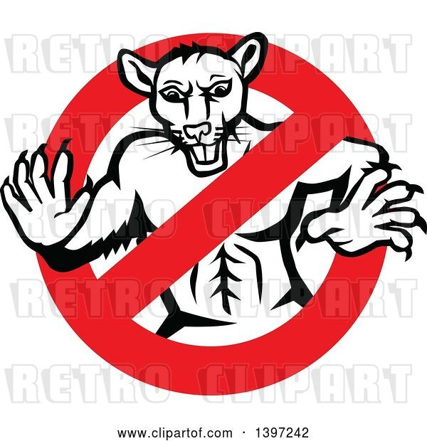 Vector Clip Art of Retro Muscular Rat in a Prohibited Symbol