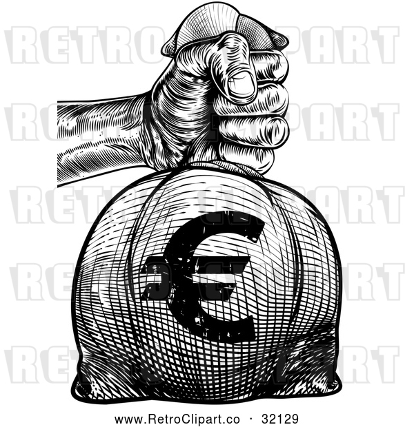 Vector Clip Art of Retro or Woodcut Styled Hand Holding out a Burlap Euro Money Bag Sack to Pay Taxes