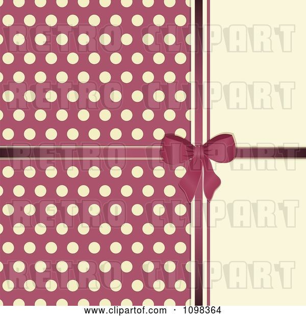 Vector Clip Art of Retro Pink Bow with Polka Dots on Beige