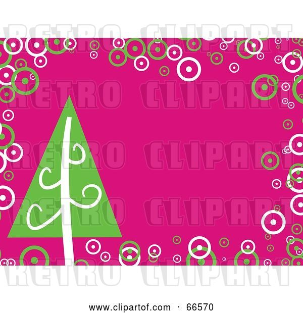 Vector Clip Art of Retro Pink Christmas Background with a Christmas Tree and Bubbles