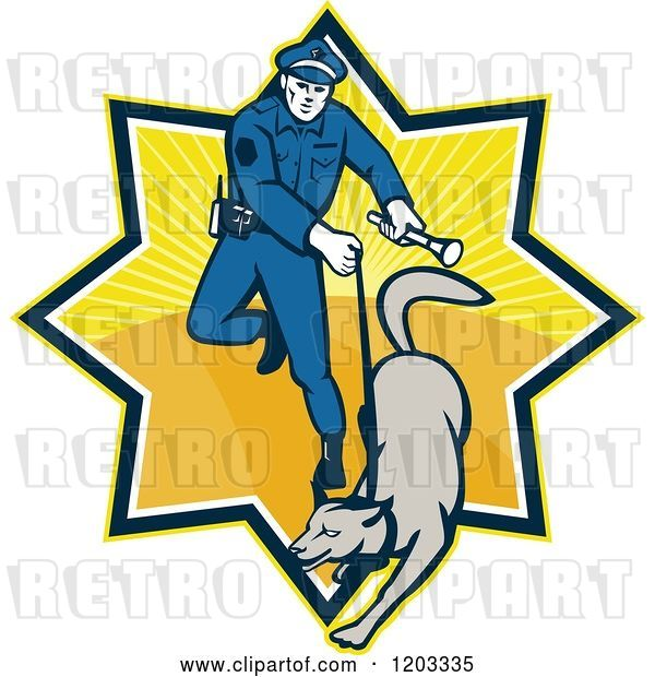 Vector Clip Art of Retro Police Officer and Dog in a Ray Burst