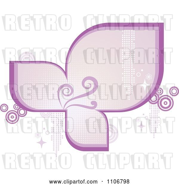 Vector Clip Art of Retro Purple Frame with Flourishes Circles Sparkles and Halftone