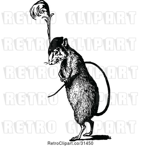 Vector Clip Art of Retro Rat Wearing a Plumed Hat