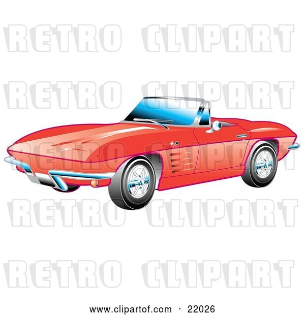 Vector Clip Art of Retro Red 1963 Convertible Chevrolet Corvette with the Top down and Crome Bumpers