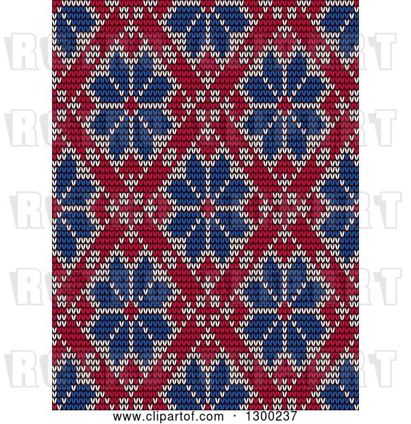 Vector Clip Art of Retro Red and Blue Seamless Scandinavian Embroidery Floral Pattern