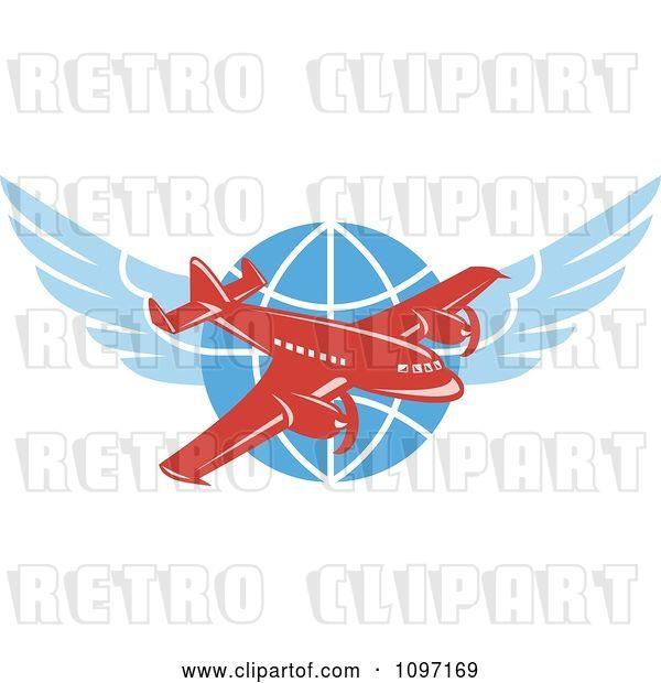 Vector Clip Art of Retro Red Jumbo Jet Propeller Airplane over a Winged Globe