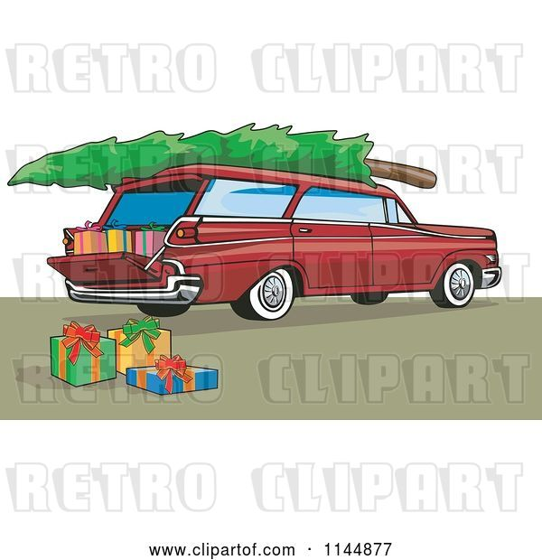 Vector Clip Art of Retro Red Station Wagon with a Christmas Tree and Gifts