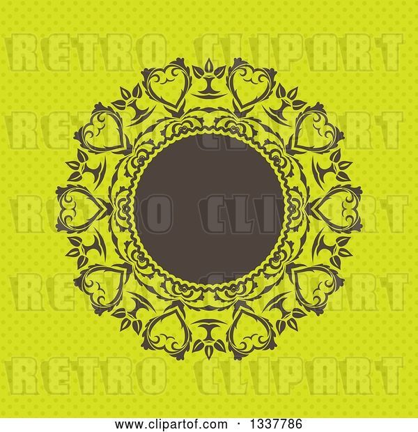 Vector Clip Art of Retro Round Brown Frame with Ornate Floral Hearts over Green Polka Dots