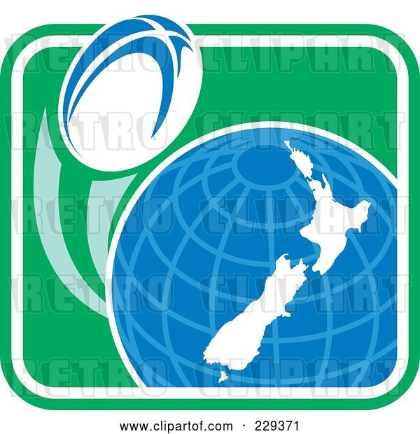 Vector Clip Art of Retro Rugby Ball Flying Around a New Zealand Globe