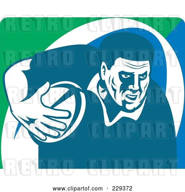 Vector Clip Art of Retro Rugby Player - 2