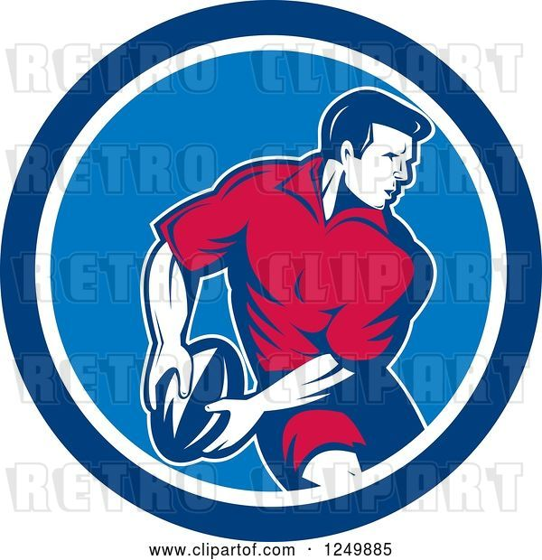Vector Clip Art of Retro Rugby Player in a Blue Circle