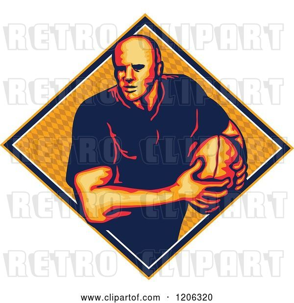 Vector Clip Art of Retro Rugby Player with a Ball in a Diamond with a Pattern