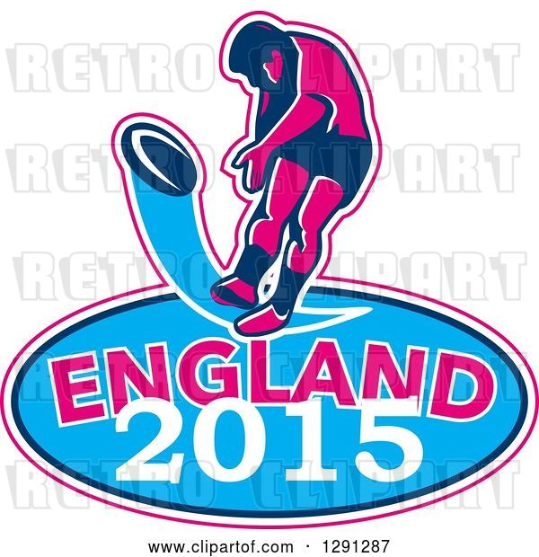 Vector Clip Art of Retro Rugby Union Player Kicking a Ball Ball in a Pink White and Blue England 2015 Oval