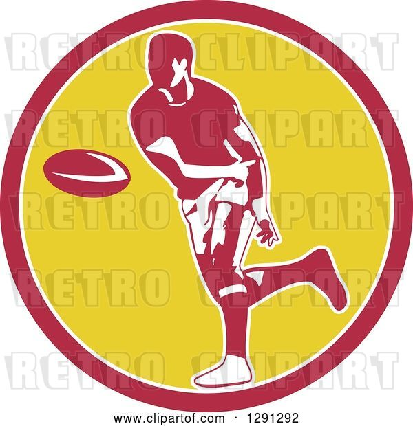 Vector Clip Art of Retro Rugby Union Player Passing a Ball in a Pink White and Yellow