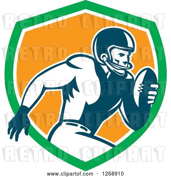 Vector Clip Art of Retro Running American Football Player in a Green White and Orange Shield